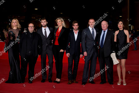 From left, actress Nathalie Rapti Gomez, director Carlo Carlei, actor Douglas Booth, producer Nadja Swarowski, actors Christian Cooke and Damian Lewis, screenwriter Julian Fellows and actress Simona Caporino pose during the red carpet of the movie 'Romeo and Juliet', at the 8th edition of the Rome International Film Festival, in Rome