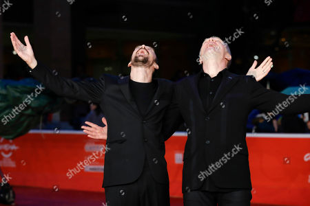 Director Alberto Fasulo, left, and actor Branko Zavrsan pose for photographers during the red carpet of the movie 'Tir', at the 8th edition of the Rome International Film Festival, in Rome