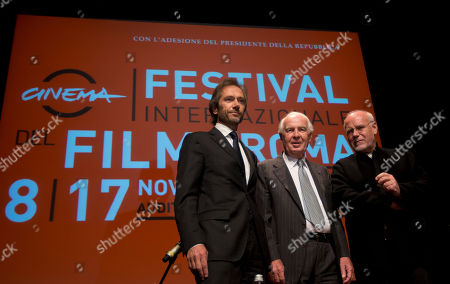 "From left, Lamberto Mancini and Paolo Ferrari, General Director and President of ""Fondazione Cinema per Roma"", and Rome Film Festival artistic director Marco Muller pose for photographers before they present the 8th edition of the Rome Film Festival at Rome's auditorium, . The Festival opens on Nov. 8 and will go on until Nov. 17"