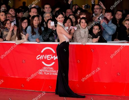 Actress Ni Hongjie arrives for the awarding ceremony of the 8th edition of the Rome International Film Festival in Rome