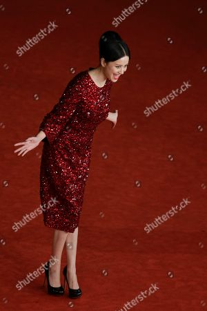 Actress Ni Hongjie poses for photographers at the 8th edition of the Rome International Film Festival in Rome