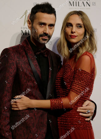 Italian designer Fabio Novembre and his partner Candela Pelizza attend the 'Foundation Milan', 10 years anniversary party in Milan, Italy, . Milan Foundation is a public charity that is tied to the Milan Group's wider context of responsibility and sustainability