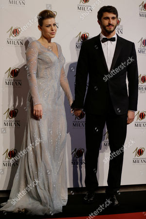 Stock Photo of Barbara Berlusconi is flanked by her partner Lorenzo Guerrieri as they attend the 'Foundation Milan', 10 years anniversary party in Milan, Italy, . Milan Foundation is a public charity that is tied to the Milan Group's wider context of responsibility and sustainability