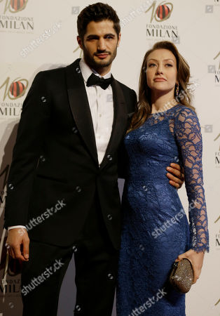 Eleonora Berlusconi is flanked by her partner Guy Binns as they attend the 'Foundation Milan', 10 years anniversary party in Milan, Italy, . Milan Foundation is a public charity that is tied to the Milan Group's wider context of responsibility and sustainability