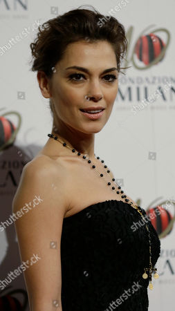 Italian actress Giorgia Surina arrives to attend the 'Foundation Milan', 10 years anniversary party in Milan, Italy, . Milan Foundation is a public charity that is tied to the Milan Group's wider context of responsibility and sustainability