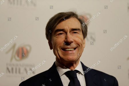 Stock Picture of Ariedo Braida arrives to attend the 'Foundation Milan', 10 years anniversary party in Milan, Italy, . Milan Foundation is a public charity that is tied to the Milan Group's wider context of responsibility and sustainability