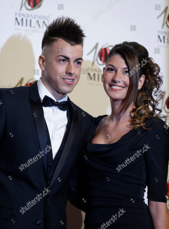 Stock Picture of AC Milan forward Stephan El Shaarawy is flanked by his partner Ester Giordano as they attend the 'Foundation Milan', 10 years anniversary party in Milan, Italy, . Milan Foundation is a public charity that is tied to the Milan Group's wider context of responsibility and sustainability
