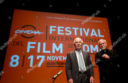 "Stock Image of Paolo Ferrari, President of ""Fondazione Cinema per Roma"", left, and Rome Film Festival artistic director Marco Muller pose for photographers before they present the 8th edition of the Rome Film Festival at Rome's auditorium, . The Festival opens Friday, Nov. 8 until Nov. 17"