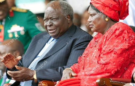 Stock Picture of Former Kenyan President Mwai Kibaki and former first lady Mama Ngina Kenyatta attend the celebrations of Kenya's 50 years of independence at Moi International Sports Complex Kasarani, Nairobi, Kenya, . The celebrations are attended by leaders from Africa and beyond