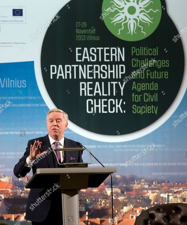Pat Cox Former European Parliament President and EU-Ukraine mediator Pat Cox gestures while speaking during a Civil Society Forum prior to an Eastern Partnership Summit in Vilnius on . European Union leaders meet Thursday and Friday for a summit that is set to be overshadowed by a power struggle with Russia for influence in post-Soviet states