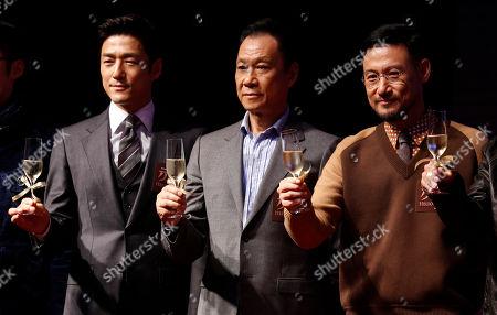 "Ji Jin-hee, Wang Xueqi, Jacky Cheung Actors, from left, South Korea's Ji Jin-hee, China's Wang Xueqi and Hong Kong's Jacky Cheung pose for photographers during a promotional event for their latest movie ""Helios"" in Macau"
