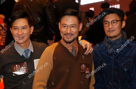 """Nick Cheung, Jacky Cheung, Shawn Yue Hong Kong actors, from left, Nick Cheung, Jacky Cheung and Shawn Yue pose for photographers during a promotional event for their latest movie """"Helios"""" in Macau"""
