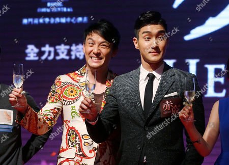 """Chang Chen, Choi Si-won Taiwanese actor Chang Chen, left, and South Korea singer-actor Choi Si-won pose for photographers during a promotional event for their latest movie """"Helios"""" in Macau"""