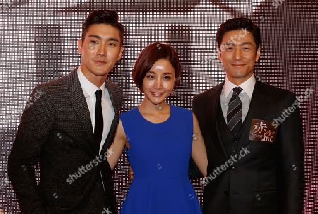 "Stock Picture of Choi Si-won, Yoon Jun-yi, Ji Jin-hee From left, South Korean actors Choi Si-won, Yoon Jun-yi and Ji Jin-hee pose for photographers during a promotional event for their latest movie ""Helios"" in Macau"