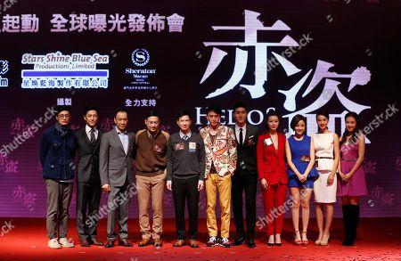 """Stock Photo of Shawn Yue, Ji Jin-hee, Chinese actor Wang Xueqi, Jacky Cheung, Nick Cheung, Chang Chen, Choi Si-won, Janice Man, Yoon Jun-yi, Feng Wenjuan, Tracy Chu Actors, from left, Hong Kong's Shawn Yue, South Korea's Ji Jin-hee, China's Wang Xueqi, Hong Kong's Jacky Cheung, Nick Cheung, Taiwan's Chang Chen, South Korea's Choi Si-won, Hong Kong's Janice Man, South Korea's Yoon Jun-yi, China's Feng Wenjuan and Hong Kong's Tracy Chu pose for the photographers during a promotional event for their latest movie """"Helios"""" in Macau"""