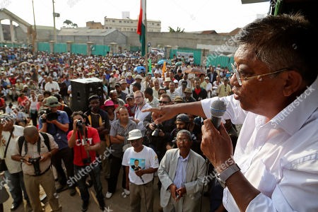 Stock Photo of Madagascar presidential candidate Robinson Jean Louis speak at a rally in Antananarivo, Madagascar, . Residents of the island nation of Madagascar voted Friday in a presidential election they hope will restore security, improve lives and mark the end of political and economic turmoil brought about by a 2009 coup