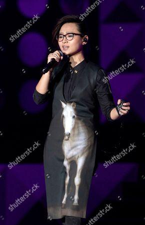 Stock Picture of Zhou Bichang Chinese singer Zhou Bichang performs during the 13th Global Chinese Music Awards in Kuala Lumpur, Malaysia
