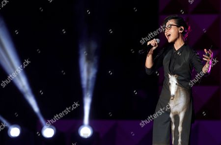 Stock Picture of Zhou Bichang Chinese singer Zhou Bichang performs during the 13th Global Chinese Music Awards in Kuala Lumpur, Malaysia