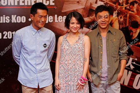 "Sean Lau, Louis Koo, Angelica Lee Hong Kong actors Sean Lau, right, Louis Koo, left, and Malaysian actress Angelica Lee pose for photographers during a press conference to promote their latest film ""Inferno"" in Petaling Jaya, near Kuala Lumpur, Malaysia"
