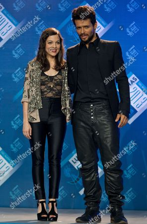 Stock Photo of Natalia Lafourcade, Robi Draco Rosa Mexican singer Natalia Lafourcade, left, and American singer Robi Draco Rosa pose after the Lunas del Auditorio award ceremony in Mexico City