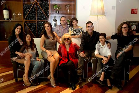 "Eduardo Espana, Laura Imperial, Mariana Trevino, Irene Azuela, Rebecca Jones, Silvia Pinal, Francisco Franco, Cecilia Suarez, Renee Prudencio Cast and crew from the film ""Tercera Llamada"" pose for photos at an event promoting their film in Mexico City, . At top center, from left, are Mexico's actor Eduardo Espana and film producer film Laura Imperial. Bottom row, from left, are Mexican actresses Mariana Trevino, Irene Azuela, Rebecca Jones, Silvia Pinal, director Francisco Franco, actress Cecilia Suarez and screen writer Renee Prudencio. The film premiers on Oct. 4"