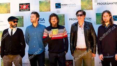 """Stock Image of Jesus Baez, Angel Mosqueda, Leon Larregui, Segio Acosta, Rodrigo Guardiola Members of the Mexican rock band Zoe, from left to right, Jesus Baez, Angel Mosqueda, Leon Larregui, Segio Acosta, and Rodrigo Guardiola, pose for photographers during a press conference to present their new album """"Programation"""" in Mexico City"""