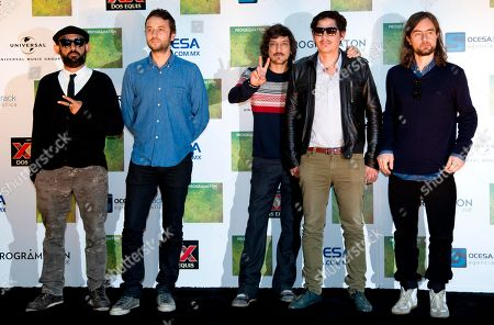 """Stock Photo of Jesus Baez, Angel Mosqueda, Leon Larregui, Segio Acosta, Rodrigo Guardiola Members of the Mexican rock band Zoe, from left to right, Jesus Baez, Angel Mosqueda, Leon Larregui, Segio Acosta, and Rodrigo Guardiola, pose for photographers during a press conference announcing their new album """"Programation"""" in Mexico City"""