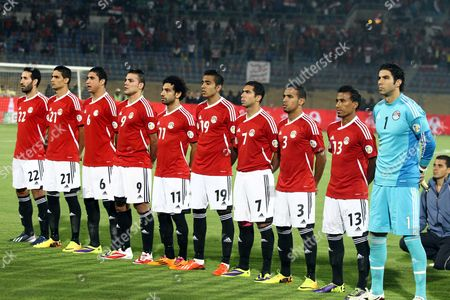 Mohamed Aboutrika, Ramy Rabia, Amr Zaki, Mohamed Salah, Kahraba, Ahmed Fathy, Ahmad Shedid Qinawi, Mohamed Abdel-Shafy, Sherif Ekramy Egypt's national soccer team poses for a group photo at their World Cup qualifying playoff second leg soccer match against Ghana, at the Air Defense Stadium in Cairo, Egypt, . From left: Mohamed Aboutrika, Ramy Rabia, Amr Zaki, Mohamed Salah, Kahraba, Ahmed Fathy, Ahmad Shedid Qinawi, Mohamed Abdel-Shafy, Sheriff Ekramy