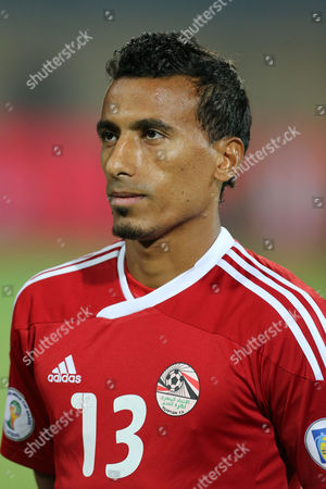 Egypt's defender Mohamed Abdel-Shafy stands on the field during the World Cup qualifying playoff second leg soccer match, at the Air Defense Stadium in Cairo, Egypt