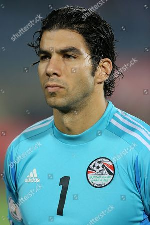 Egypt's goalkeeper Sherif Ekramy at the World Cup qualifying playoff second leg soccer match, at the Air Defense Stadium in Cairo, Egypt