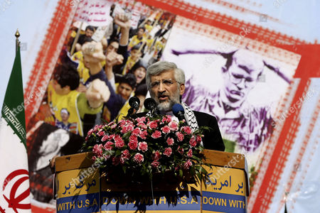 Stock Photo of Saeed Jalili Saeed Jalili, a member of Expediency Council and former nuclear negotiator delivers a speech during an annual anti-American demonstration in Tehran, Iran, . Tens of thousands of demonstrators packed the streets Monday outside the former U.S. Embassy in Tehran in the biggest anti-American rally in years, a show of support for hard-line opponents of President Hassan Rouhani's historic outreach to Washington