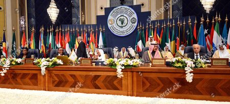 The Amir of Kuwait Sheikh Sabah Al Sabah, center, chairs the third Africa-Arab Summit held in Kuwait on . Also in the picture are, from left, Chairperson of African Union Commision, Nkosazana Clarice Dlamini-Zuma ; Co-chair of the Arab African Summit, Ethiopian prime minister Hailemarian Desalegn; Kuwait's deputy prime minister and minister of Foreign Affairs, Sheikh Sabah Khaled Al-Hamad Al-Sabah and Secretary Gral of the Arab League, Nabil Elaraby. The two-day summit that starts Tuesday is the first since the 2011 Arab Spring uprisings. It comes amid unrest in Egypt and Libya and anti-terrorism efforts following the September mall attack in Nairobi by Somalia militants