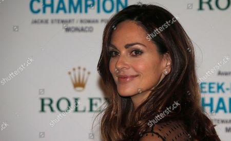 """Mozambique-born Canadian model, actress, and humanitarian, Tasha de Vasconcelos poses for photographers as she arrives for the screening of """"Weekend of a Champion"""" of Polish-French film director Roman Polanski, in Monaco"""