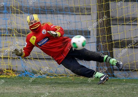 Bogdan Lobont Romania's goalkeeper Bogdan Lobont goes for the ball during a training session in Bucharest, . The Romanian soccer team will play Greece in their World Cup qualifying playoff second leg match on Tuesday