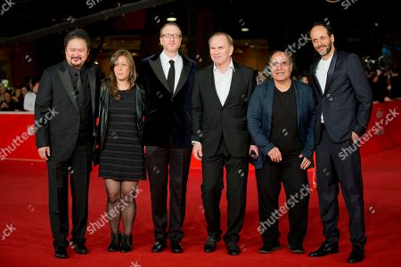Zhang Yuan, Noemie Lvovsky, James Gray, Aleksei Guskov, Amir Naderi, Luca Guadagnino From left, MAXXI jury members Zhang Yuan, Noemie Lvovsky, jury President James Gray, Aleksei Guskov, Amir Naderi, and Luca Guadagnino pose on the red carpet as they arrive for the screening of the movie 'L'ultima ruota del carro' (The fifth wheel) opening the 8th edition of the Rome International Film Festival in Rome