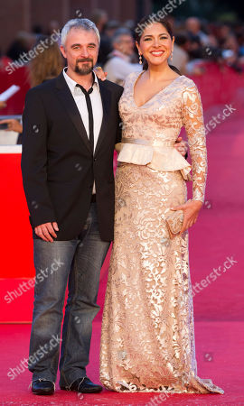 Tania Arredondo, Michael Rowe Actress Tania Arredondo, right, poses with director Michael Rowe on the red carpet as they arrive for the screening of the movie 'Manto Acuifero' at the 8th edition of the Rome International Film Festival in Rome
