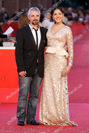Michael Rowe, Tania Arredondo Director Michael Rowe, left, and actress Tania Arredondo arrive for the screening of the movie 'Manto Acuifero' at the 8th edition of the Rome International Film Festival in Rome