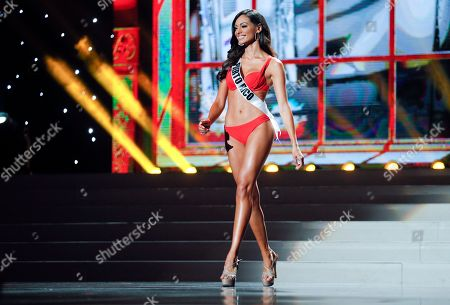 Stock Photo of Monic Perez Miss Puerto Rico Monic Perez presents herself during the preliminary competition of the 2013 Miss Universe pageant in Moscow, Russia, on . Beauties will compete for the title of Miss Universe in Moscow on Nov. 9