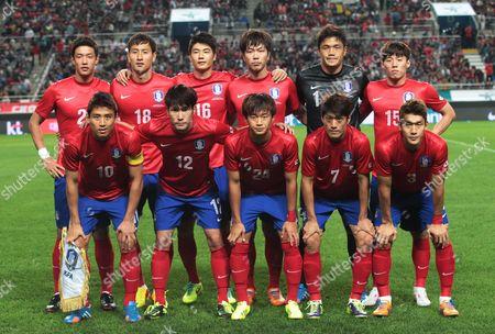 Hong Jeong-ho,Ji Dong-won, Ki Sung-yueng, Kim Young-gwon, Jung Sung-ryong, Kim Bo-kyung, Koo Ja-cheol, Han Kook-young, Kim Jin-su, Lee Chung-yong,Lee Yong South Korea's soccer team players pose before a friendly match against Brazil at World Cup Stadium in Seoul, South Korea. Front row from left, Koo Ja-cheol, Han Kook-young, Kim Jin-su, Lee Chung-yong and Lee Yong. Back row from left, Hong Jeong-ho,Ji Dong-won, Ki Sung-yueng, Kim Young-gwon, Jung Sung-ryong, Kim Bo-kyung