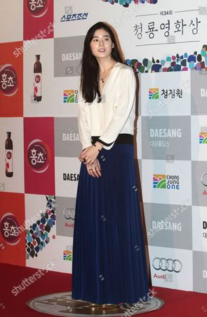Stock Picture of Jung Eun-chae South Korean actress Jung Eun-chae poses during Blue Dragon Awards in Seoul, South Korea, . The award is a major film and art awards ceremony in South Korea