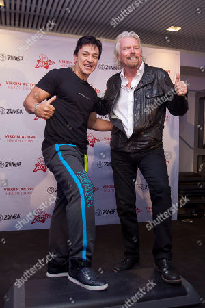 Beto Perez, Richard Branson Colombian choreographer Beto Perez, left, and Richard Branson visit a Zumba Step dance class at Virgin installations in Madrid, Spain