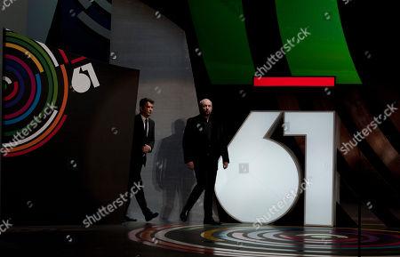 Juan Jose Campanella, Arturo Valls Argentina film director, Juan Jose Campanella, right, and Spanish actor, Arturo Valls, during the opening ceremony for the 61st San Sebastian Film Festival, in San Sebastian, northern Spain on