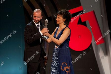 Marian Alvarez Spanish film director Fernando Franco, left, receiving the Special Jury Prize for his film ''La Herida'' (Wounded), for the 61st San Sebastian Film Festival, in San Sebastian, northern Spain