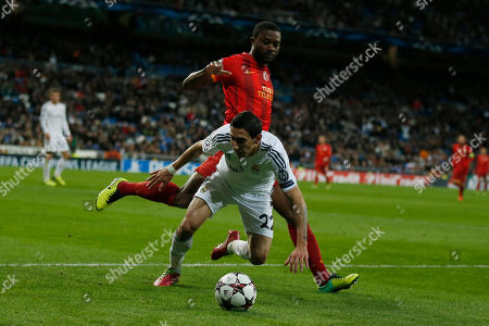 Emmanuel Eboue, Angel Di Maria Real's Angel Di Maria, front, vies for the ball with Galatasaray's Emmanuel Eboue during a Champions League Group B soccer match between Real Madrid and Galatasaray, at the Santiago Bernabeu stadium in Madrid