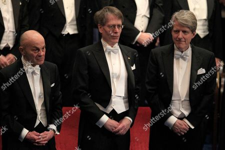 The 2013 Nobel Prize Laureates in Economic Sciences Eugene F. Fama of the US, from left, Lars Peter Hansen of the US and Robert J. Shiller of the US after receiving their Nobel Prize from Sweden's King Carl XVI Gustaf, during the Nobel Prize award ceremony at the Stockholm Concert Hall in Stockholm, . The Nobel awards are always awarded on Dec. 10, the anniversary of Alfred Nobel's death in 1896. The prizes for laureates in medicine, chemistry, physics, economics and literature are awarded in the Swedish capital Stockholm, whilst the Nobel Peace Prize is awarded on the same day in Oslo, Norway