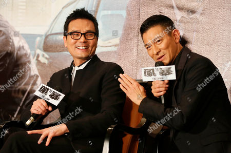 """Gordon Lam, Andy Lau Hong Kong actors Gordon Lam, left, and Andy Lau, speak during a press event for their latest film """"Firestorm"""" in Taipei, Taiwan"""