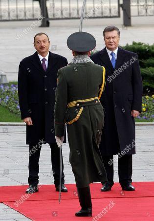 Viktor Yanukovych,Ilkham Aliyev Ukrainian President Viktor Yanukovych and Azerbaijani President Ilham Aliev, left, during a welcoming ceremony in Kiev, Ukraine
