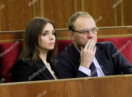 Eugenia Tymoshenko,Serhiy Vlasenko Eugenia Tymoshenko, daughter of imprisoned former Ukrainian Prime Minister Yulia Tymoshenko,left, and Serhiy Vlasenko, the lawyer of Yulia Tymoshenko watch a parliament session in Kiev, Ukraine, . The European Union has given the Ukrainian parliament a week to pass legislation allowing the release of jailed former premier Yulia Tymoshenko, if Kiev wants to sign a key integration treaty with the 28-country bloc, her allies said Thursday. Tymoshenko is serving a seven-year term on abuse of office charges, which the West has condemned as politically motivated. President Viktor Yanukovych and his allies in parliament have resisted that pressure to free her