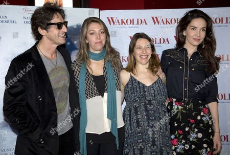 "Stock Image of Lucia Puenzo, Diego Peretti, Natalia Oreiro, Elena Roger Actor Diego Peretti, left, Director Lucia Puenzo, second from left, and actresses Elena Roger, third from left, and Natalia Oreiro, pose for pictures during a photo session promoting their film ""Wakolda"" in Buenos Aires, Argentina"
