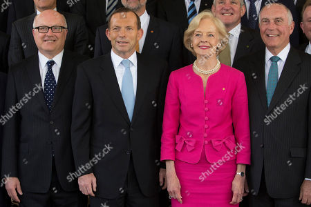 Tony Abbott, Quentin Bryce, Warren Truss, George Brandis Tony Abbott, second from left, poses with Governor General Quentin Bryce, second from right, his deputy Warren Truss, right, and Senator George Brandis, left, for an official photo after being sworn in as the 28th prime minister of Australia at Government House in Canberra . Abbott promised immediate action to slow the stream of asylum seekers arriving by boats from Indonesia and to repeal an unpopular carbon tax levied by the previous administration